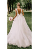 Sexy V-Neckline Simple Wedding Dresses Organza Ruffles A-line Wedding Gown with Bow