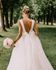 Sexy V-Neckline Simple Wedding Dresses Organza Ruffles A-line Wedding Gown with Bow 2020