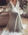 Bohemian Wedding Dresses Illusion Lace Bridal Gown Backless Long Sleeve Deep V Neck Wedding Gowns Boho Chiffon Plus Size Beach Bridal Dress 2020