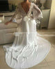 Bohemian Wedding Dress Illusion Lace Backless Long Sleeve Deep V Neck Boho Chiffon Beach Bridal Dress
