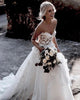 Fashion 2020 Summer Beach Wedding Dresses Sweetheart Lace 3D Flowers Bodice  A-line Organza Wedding Gown