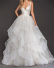 Fantastic Satin & Tulle V-Neckline Ball Gown Wedding Dresses With Puffy Cascading Ruffles 2020
