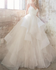 Fantastic Satin & Tulle V-Neckline Ball Gown Wedding Dresses With Puffy Cascading Ruffles