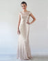 2020 Champagne Metallic Bridesmaid Dresses Jewel Cap Sleeve Slim Fitted Sheath Party Gowns for Brides