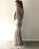 Long Sleeve Sequined Bridesmaid Dresses Cowl Back Slim Fitted Sheath Party Gowns Sparkly