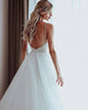 Sexy Spaghetti Straps Wedding Dresses Tulle Ruffles Skirt Low Back A-line Bridal Gowns