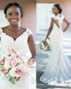 New Mermaid Lace Wedding Dresses with Cap Sleeve Covered Buttons African Trumpet Wedding Gown
