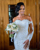 Gorgeous Mermaid Lace Wedding Dresses Full Sleeves Appliques Sheer Neckline Tulle Trumpet Wedding Gown African 2020 new collections