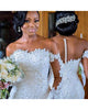Gorgeous Mermaid Lace Wedding Dresses Full Sleeves Appliques Sheer Neckline Tulle Trumpet Wedding Gown African
