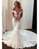 Sexy Mermaid Lace Wedding Dress Deep V-Neck Cap Sleeve Sheer Back Beach Bridal Gown Long Train 2020 new style trumpet bridal sheath gowns