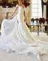 Off The Shoulder Tulle Mermaid Wedding Dresses Flare V-Neck Simple Wedding Gown for Brides