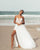 Sexy Beach Wedding Dresses Spaghetti Straps Unique Lace Appliques V-Neck Bridal Dress Split Side 2020