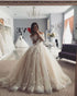 Delicate Lace Tulle Wedding Dress Ball Gown Floral Appliques Long Sleeve Princess Bridal Gowns