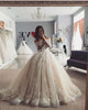Delicate Lace Tulle Wedding Dress Ball Gown Floral Appliques Long Sleeve Princess Bridal Gowns 2020