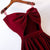 Burgundy Satin Prom Dresses with Spaghetti Straps Long Prom Homecoming Gowns with Big Bow