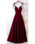 2020 Satin Prom Dresses with V-Neck Long Prom Homecoming Dress with Spaghetti Straps
