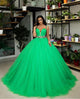 Popular Green Tulle Quinceanera Dress Spaghetti Straps Ball Gown Sweet 15 Dress vestidos de quinceañera 2020