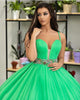 Popular Green Tulle Quinceanera Dress Spaghetti Straps Ball Gown Sweet 15 Dress vestidos de quinceañera