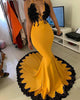 Sexy 2020 Mermaid Yellow Evening Dresses with Black Lace Appliques Formal Dress for African Women