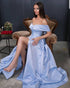 Light Blue Prom Dresses Off The Shoulder Long Prom Gowns with Split Side 2020 New Arrival