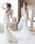 New 2020 Lace Mermaid Wedding Dress Full Sleeve Sheer Deep V-neck Lace Bridal Gowns Tulle Train