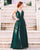 Fashion Dark Green Chiffon Prom Dresses Split Sexy V-Neck Long Prom Gowns Criss Cross Back