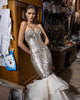 Sparkly Mermaid Fitting Evening Gowns with Sequins Sexy Prom Dresses Organza Ruffles