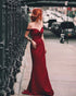 Simple 2020 Burgundy Prom Dresses Off The Shoulder Sexy Sheath Fitting Prom Party Gowns