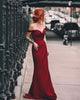 Simple 2020 Burgundy Prom Dresses Off The Shoulder Sexy Sheath Fitting Prom Party Gowns red-wine maroon-party-gowns