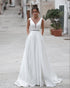 Fashion 2020 Wedding Dresses A-line Deep V-neck Backless Wedding Gowns with Belt Beaded