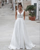 Fashion 2020 Wedding Dresses A-line Deep V-neck Backless Wedding Gowns with Belt Beaded spring-summer 2020-wedding