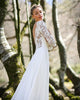 2020 Bridal Wedding Dresses with Lace Sleeve Scoop Neckline Backless Wedding Gowns