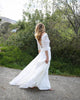 Elegant 2020 Lace Wedding Dresses with V-Neck 3/4 Lace Sleeve Chiffon A-line Bridal Gowns
