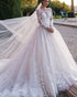 Gorgeous 2020 Lace Wedding Gowns Full Sleeve Sheer Scoop Neckline Bridal Ball Gowns Wedding Dress