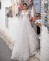 2020 Lace Wedding Dresses with V-Neck Half Sleeve Elegant Lace A-line Bridal Gowns Corset Back