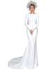 2020 Simple Long Sleeve Wedding Dresses Silk Satin Backless Mermaid Wedding Gown