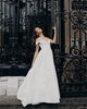Hot Simple Off The Shoulder Satin Wedding Dresses V-Neck A-line Bridal Gowns Cap Sleeve 2020-wedding 2021-wedding