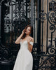 Hot Simple Off The Shoulder Satin Wedding Dresses V-Neck A-line Bridal Gowns Cap Sleeve