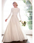 Elegant 2020 Satin Wedding Dresses Long Sleeve A-line Bridal Gowns with Boat Neck