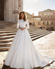 Popular Satin Ball Gown Wedding Dresses Long Sleeve 2020 Bridal Gowns with Lace Appliques