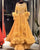 Sparkly Long Sleeve Gold Satin Evening Dresses O-Neck Long Formal Dress with Feathers