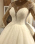 2020 Sexy Sheer Long Sleeve Wedding Gowns with Pearls Beaded Tulle Ball Gown Wedding Dress