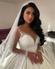 Gorgeous 2020 Sheer Long Sleeve Wedding Gowns Beadings Deep V-Neck Satin Bridal Ball Gown Saudi