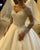 Sparkly 2020 Sheer Full Sleeve Wedding Dresses Sequins V-Neck Tulle Ball Gown for Brides