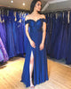 2020 Navy Blue Blue Prom Dresses Off The Shoulder Chiffon Lace Appliques Long Homecoming Gowns