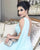 Sexy Sky Blue Prom Dresses Illusion Back One Shoulder Chiffon Long Evening Dress 2021
