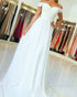 Sexy Ivory A-line Prom Dresses Lace Appliques Off The Shoulder Long Prom Gowns Fashion