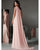 Popular Pink Prom Dresses with Cape One Shoulder Chiffon Long Evening Gowns Formal Dress