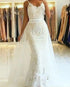 Sexy Mermaid Lace Wedding Dresses with Detachable Train Bridal Gown with Spaghetti