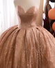 Rose Gold Quinceanera Dresses Sparkly Shine Ball Gowns Sweet 16 Dress vestidos de quinceañera